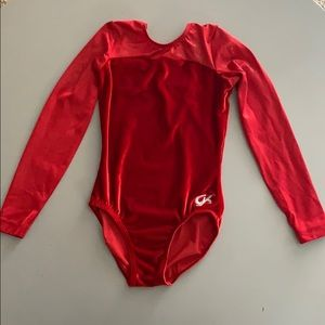 GK Girls Leotard! Beautiful Long Sleeve Velour Red